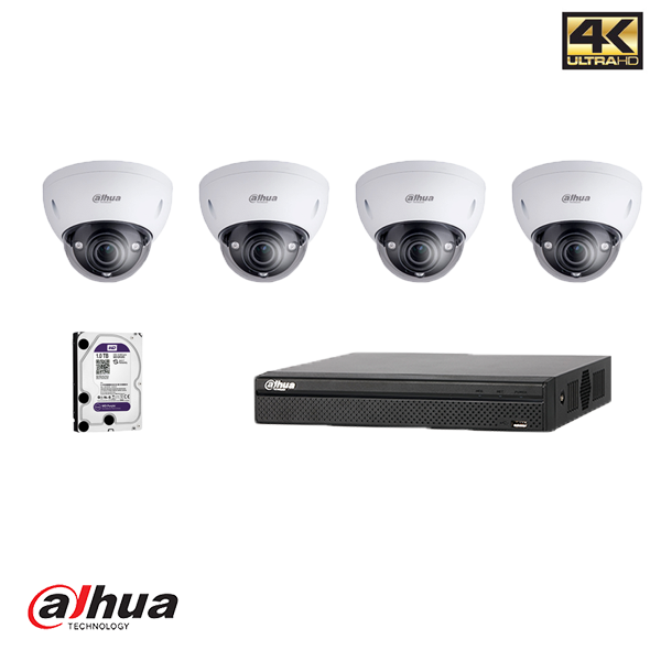 DAHUA NVR KIT: 4 KANAALS NVR INCL 1 TB HDD, 4 X DOME, 4 X 20M UTP Security Noord Nieuwenhuis