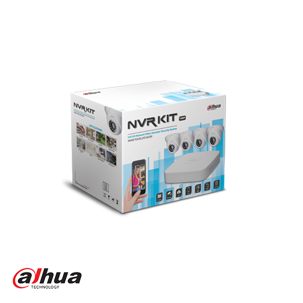 DAHUA KIT NVR2104-P-S2 + 4 X HDW1220S-0360-S2 INCL 1 TB HDD - Security Noord Nieuwenhuis