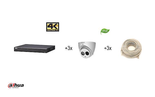 DAHUA KIT - NVR4208-8P-4KS2 + 3 X IPC-HDW4431EM-ASE28 + 2 TB HDD - Security Noord Nieuwenhuis